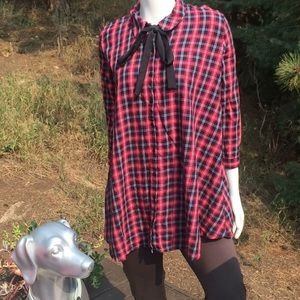 Zara Button Down Plaid Tunic Top with Tie
